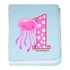 Pink Jelly Fish First Birthday baby blanket