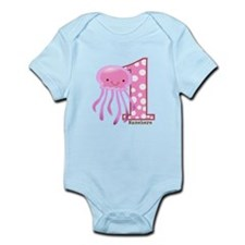 Pink Jelly Fish First Birthday Infant Bodysuit