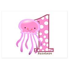 Pink Jelly Fish First Birthday Invitations