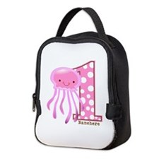Pink Jelly Fish First Birthday Neoprene Lunch Bag