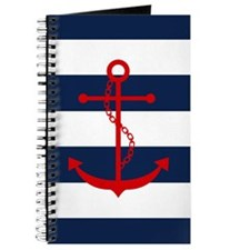 Red Anchor on Blue Stripes Journal