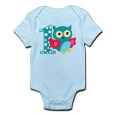 First Birthday Happy Owl Infant Bodysuit