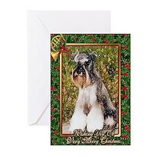 Miniature Schnauzer Dog Christmas Greeting Cards (