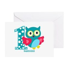 Cute First Birthday Owl Greeting Card