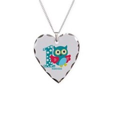 Cute First Birthday Owl Necklace Heart Charm