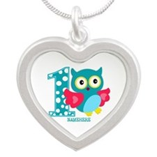 Cute First Birthday Owl Silver Heart Necklace