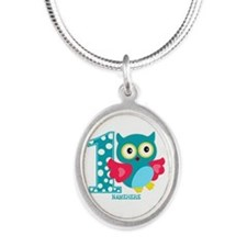 Cute First Birthday Owl Silver Oval Necklace