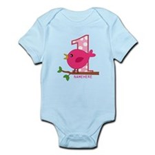 Custom Name Pink Birdie Infant Bodysuit