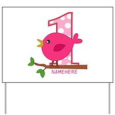 Custom Name Pink Birdie Yard Sign