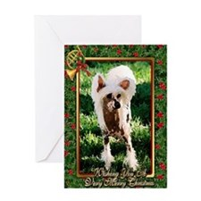 Chinese Crested Dog Christmas Greeting Card