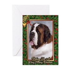 Saint Bernard Dog Christmas Greeting Cards (Pk of