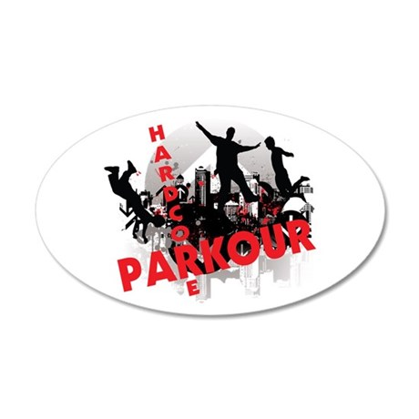 Hardcore Parkour Grunge City 35x21 Oval Wall Decal
