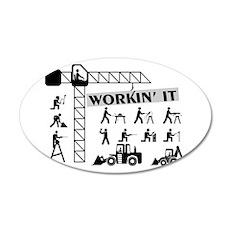 Workin It Blue Collar Workers 20x12 Oval Wall Deca