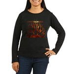Firefighter Tribal Flames Women's Long Sleeve Dark