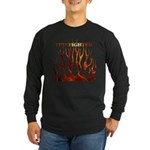 Firefighter Tribal Flames Long Sleeve Dark T-Shirt