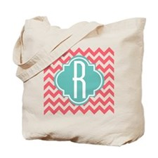 Initial R ZigZag Stripes Monogram Tote Bag