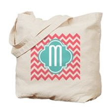 Letter M ZigZag Stripes Monogram Tote Bag