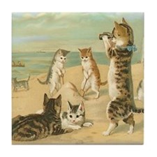 Beach Kittens Tile Coaster