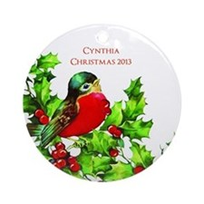 Personalized Red Bird with Holly Ornament
