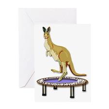 Jumping Kangaroo on Trampoline Greeting Card