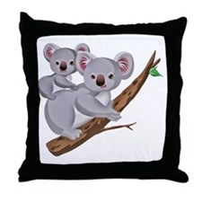 Koala and Baby on Eucalyptus Tree Bra Throw Pillow