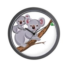 Koala and Baby on Eucalyptus Tree Branc Wall Clock