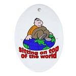 On Top of the World Cartoon Oval Ornament
