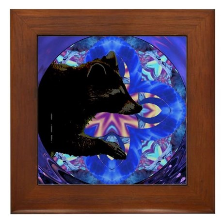 Racoon Kaleidoscope Framed Tile