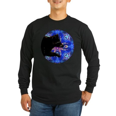 Racoon Kaleidoscope Long Sleeve Dark T-Shirt