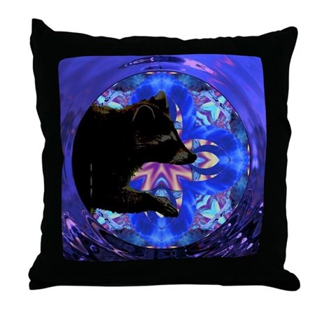 Racoon Kaleidoscope Throw Pillow