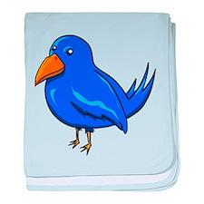Blue Cartoon Bird baby blanket