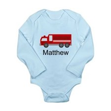 Personalized Fire Truck Long Sleeve Infant Bodysui
