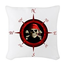 Pirate Compass Rose Woven Throw Pillow