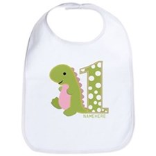 Customized First Birthday Green Dinosaur Bib