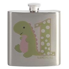 Customized First Birthday Green Dinosaur Flask