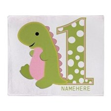 Customized First Birthday Green Dinosaur Throw Bla