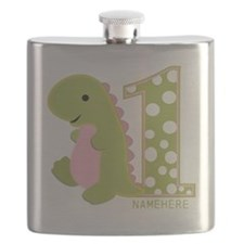 Customized First Birthday Green Dinosaur Flask
