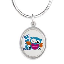 Customized Owl First Birthday Silver Oval Necklace