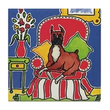 Sitting Pretty Boxer Dog Tile Coaster