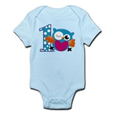 Cute Owl First Birthday Infant Bodysuit