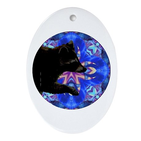 Racoon Kaleidoscope Oval Ornament