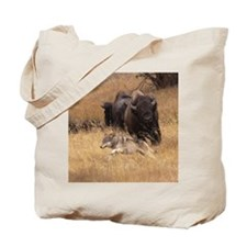 Bull Bison, Female, & Wolf Tote Bag