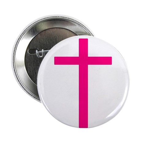 "Pink Cross 2.25"" Button (100 pack)"