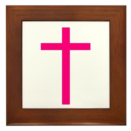 Pink Cross Framed Tile