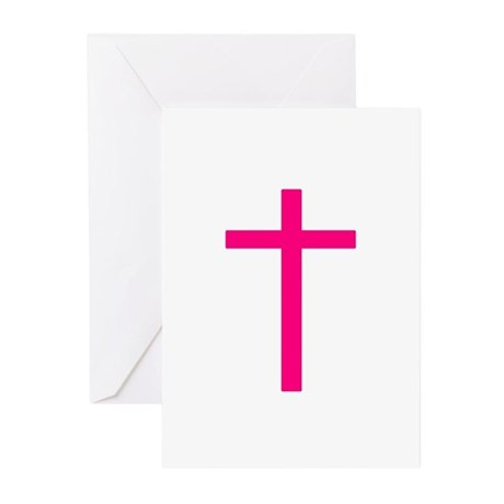 Pink Cross Greeting Cards (Pk of 10)