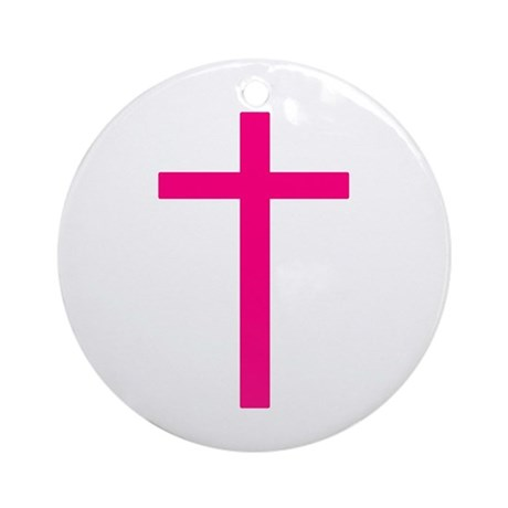 Pink Cross Ornament (Round)