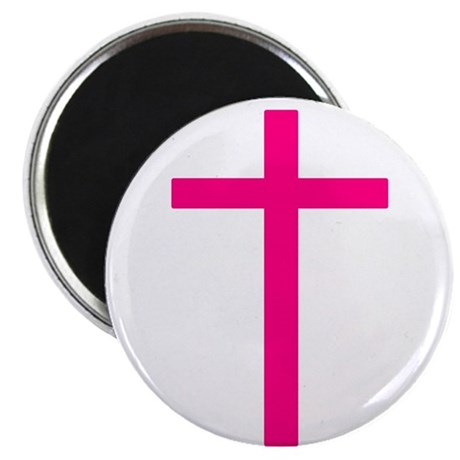 "Pink Cross 2.25"" Magnet (100 pack)"