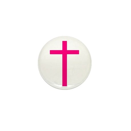 Pink Cross Mini Button