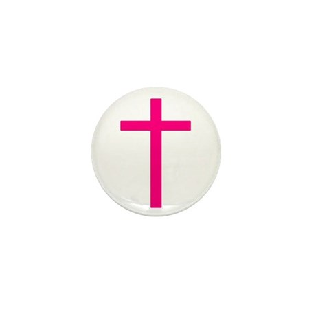 Pink Cross Mini Button (10 pack)