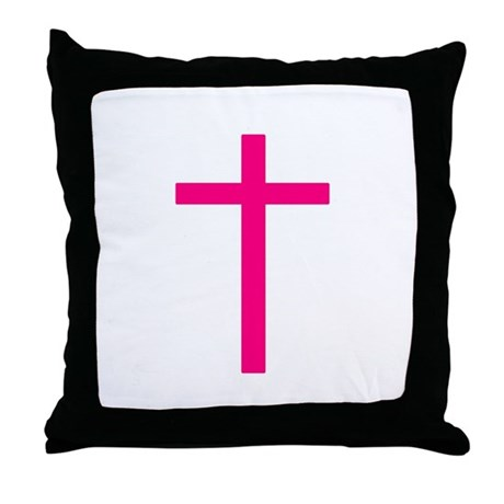 Pink Cross Throw Pillow